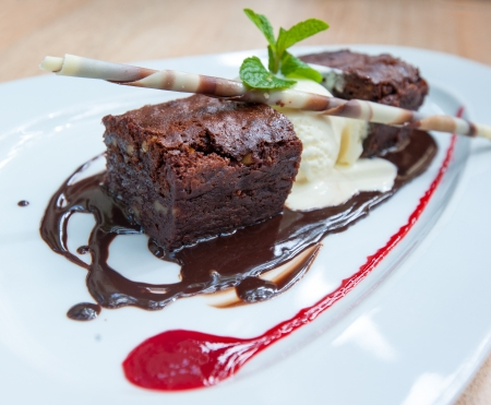 Photo for fancy dessert, chocolate brownie and ice cream - Royalty Free Image