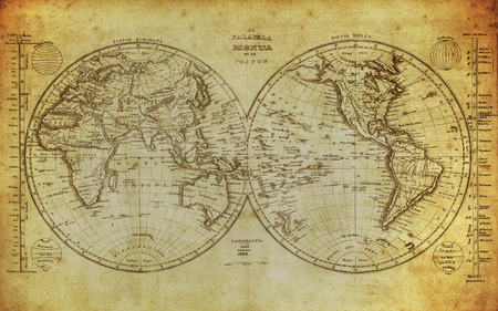 Photo pour vintage map of the world 1839   - image libre de droit
