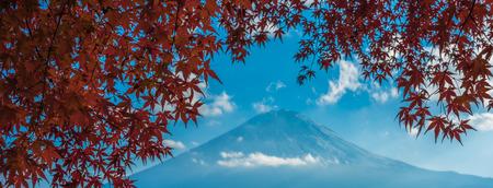 Mount Fuji and autumn maple leaves, Kawaguchiko lake, Japan