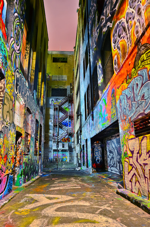 Photo for Night view of colorful graffiti artwork at Hosier Lane in Melbourne - Royalty Free Image