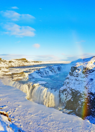 Photo for View of Gullfoss waterfall in winter, where is on the popular route of Golden Circle in southwest Iceland. - Royalty Free Image