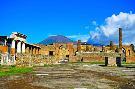 Photo for View of the roman ruins destroyed by the eruption of Mount Vesuvius centuries ago at Pompeii Archaeological Park in Pompei, Italy. - Royalty Free Image