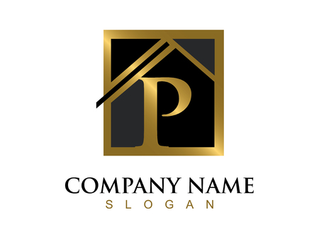 Illustration for Gold letter P house logo - Royalty Free Image