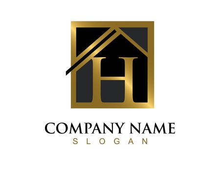 Illustration for Golg letter H house logo - Royalty Free Image