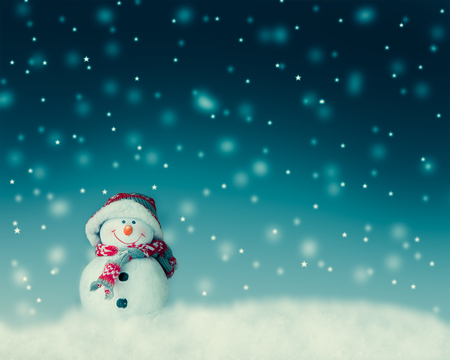 Foto per snowman  for card or background - Immagine Royalty Free