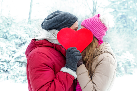 Photo pour winter valentine couple in ice landscape - image libre de droit