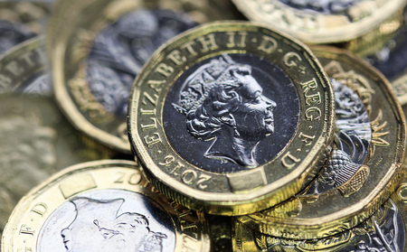 Photo for New One Pound Coins - UK - Royalty Free Image