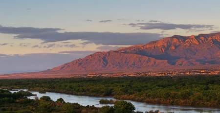 Photo for view of the Sandia Mountains and Rio Grande Bosque - Royalty Free Image
