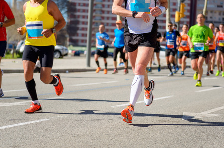 Photo pour Marathon running race, runners feet on road, sport, fitness and healthy lifestyle concept - image libre de droit