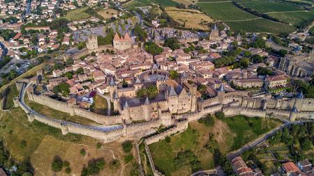 Foto de Aerial top view of Carcassonne medieval city and fortress castle from above, Sourthern France - Imagen libre de derechos