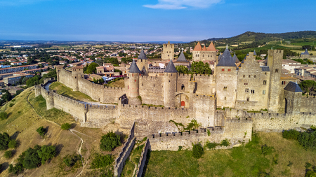 Photo for Aerial top view of Carcassonne medieval city and fortress castle from above, Sourthern France - Royalty Free Image