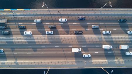 Photo pour Aerial top view of bridge road automobile traffic of many cars, transportation concept - image libre de droit