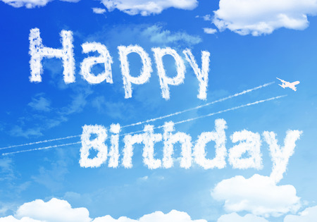 Cloud text : HAPPY Birthday on the sky.