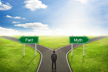 Photo for Businessman concept; choose Fact or Myth road the correct way. - Royalty Free Image