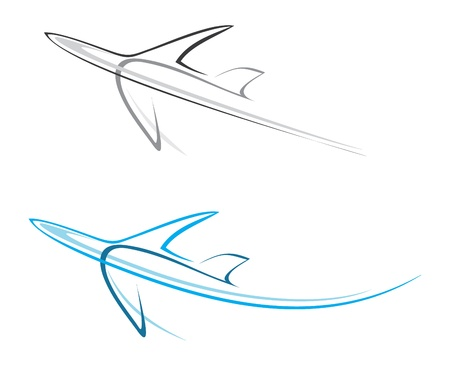 Flying airplane - stylized illustration. Grey icon on white background. Isolated design element. Airliner. Can be used as logotype.