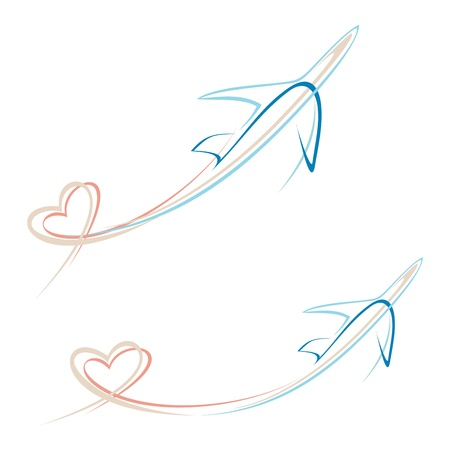 Flying airplane with heart shape trace -