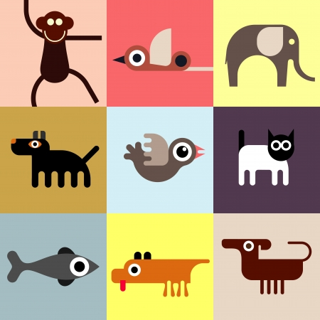 Animals and Pets - set of icons. Seamless wallpaper. Domestic and wild animals.