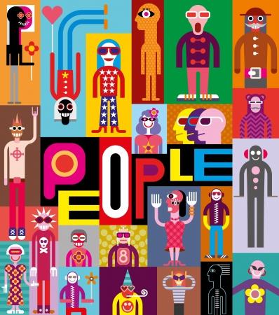 Illustration pour People. Art composition of abstract portraits. Vector design with text People. - image libre de droit