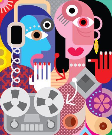 Illustration pour Couple with retro recorder - vector illustration. - image libre de droit
