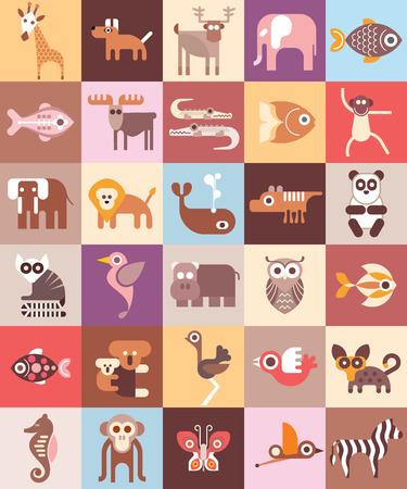 Ilustración de Zoo Animals - illustration. Graphic design with variety animal icons. - Imagen libre de derechos