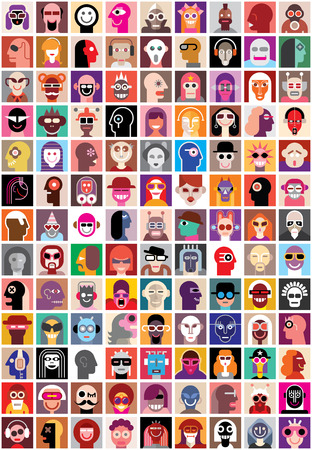 Illustration pour People faces vector set. Collage of closeup portraits. - image libre de droit