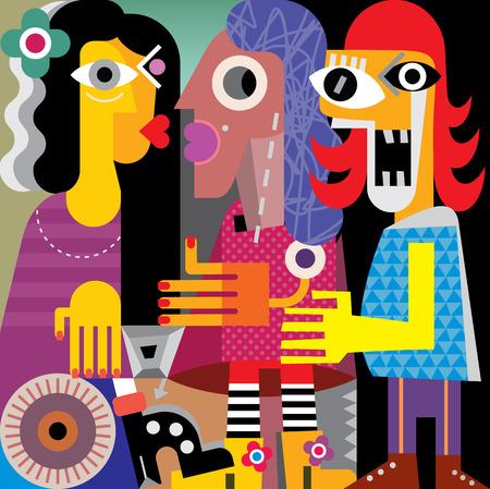 Illustration pour Abstract portrait of three women. Vector illustration. - image libre de droit