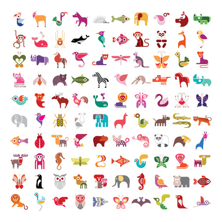 Ilustración de Animals, birds, fishes and insects large vector icon set. Various isolated colorful images on white background. - Imagen libre de derechos