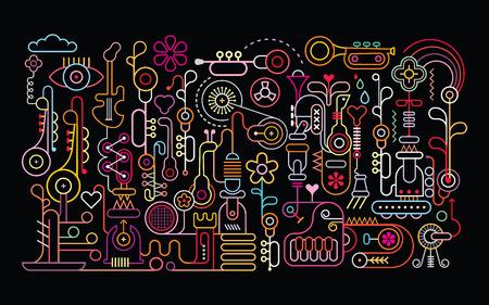 Illustration pour Music Shop abstract art vector illustration. Neon light silhouettes on black background. - image libre de droit