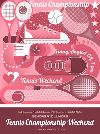 Ilustración de Tennis Championship poster design template. Vector illustration. - Imagen libre de derechos