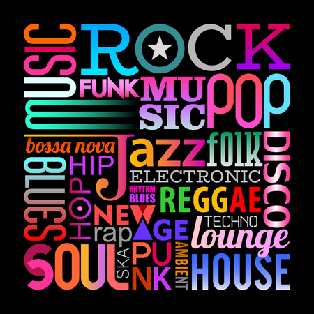 Illustration for Text design composition isolated on a black background Music styles vector illustration. Layers of the text background. - Royalty Free Image