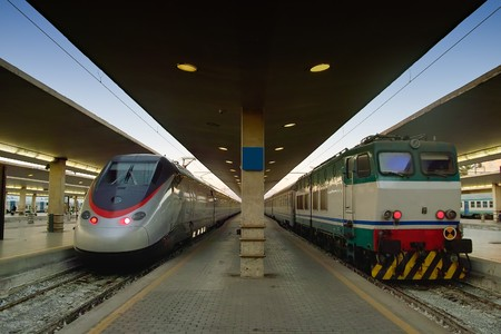 Modern and old train one against the other in this photo that show the advancement of technology in transport industry