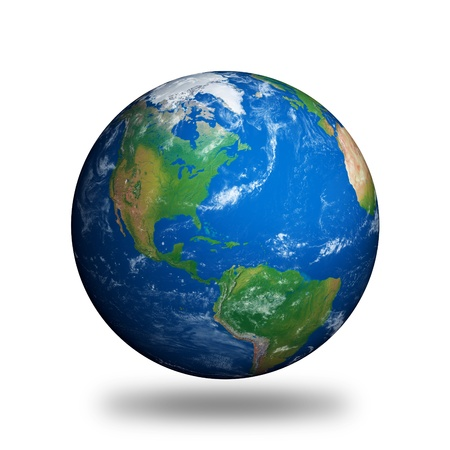 Planet Earth showing North America isolated on white.
