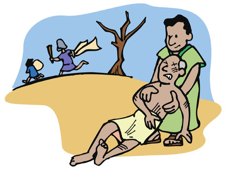 Illustration for The Good Samaritan helps and takes care of a man who has been attacked by thieves on the road. - Royalty Free Image