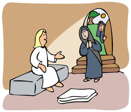 Illustration pour Women find an angel inside Jesus tomb - image libre de droit
