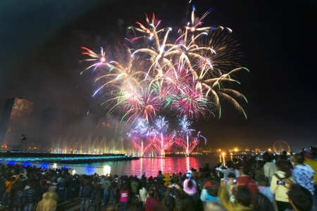 Chinese traditional festival fireworks in Taiwan Kaohsiung