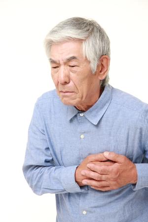 Foto de senior Japanese man heart attack - Imagen libre de derechos