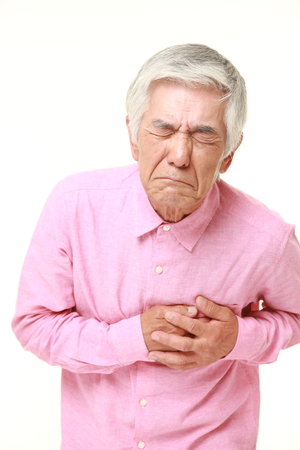 Foto per senior Japanese man heart attack - Immagine Royalty Free
