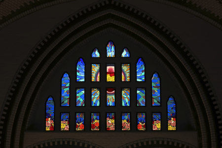 Foto für Colorful Stained glass window at St Marys Cathedral in Yangon Myanmar Asia - Lizenzfreies Bild