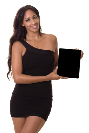 Sophisticated woman holds a blank tablet computer