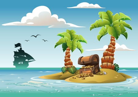 Illustration for Treasure chest on the unhabited tropical island in the ocean. - Royalty Free Image