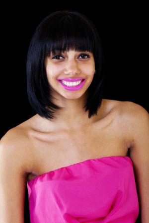 Smiling Skinny Black Woman Bare Shoulder Dress