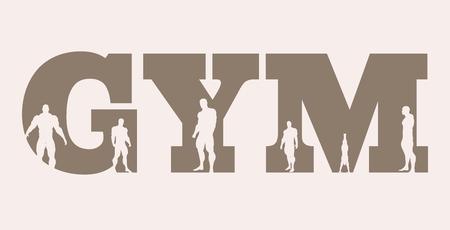 Illustration pour Muscular men silhouettes on gym word. Vector silhouette. Bodybuilding relative image - image libre de droit
