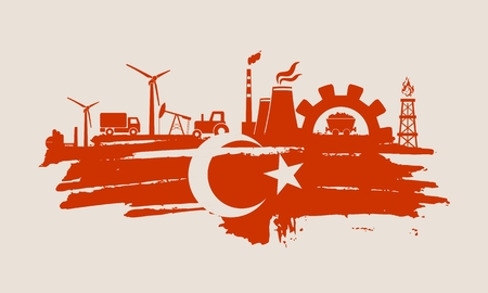 Energy and Power icons set and grunge brush stroke. Energy generation and heavy industry relative image. Agriculture and transportation. Vector illustration. Flag of the Turkey
