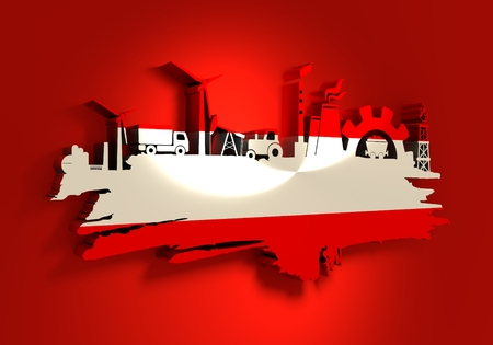 Energy and Power icons set and grunge brush stroke. Energy generation and heavy industry relative image. Agriculture and transportation. Flag of the Austria. 3D rendering