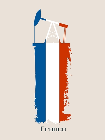 Oil pump icon and grunge brush stroke. Energy generation and heavy industry relative image. Vector illustration. Flag of the France