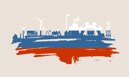 Energy and Power icons set and grunge brush stroke. Energy generation and heavy industry relative image. Agriculture and transportation. Vector illustration. Flag of the Russia