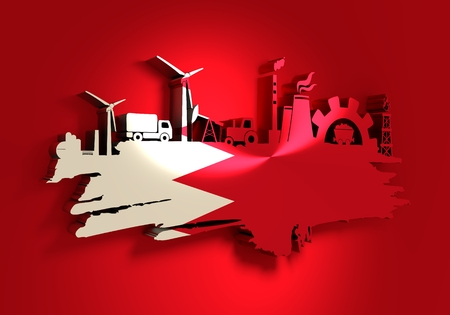 Energy and Power icons set and grunge brush stroke. Energy generation and heavy industry relative image. Agriculture and transportation. Flag of the Bahrain. 3D rendering