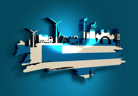 Energy and Power icons set and grunge brush stroke. Energy generation and heavy industry relative image. Agriculture and transportation. Flag of the Greece. 3D rendering