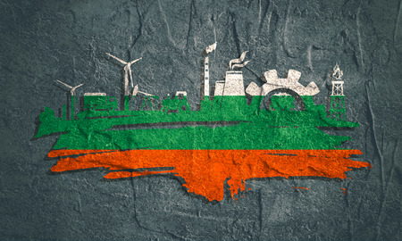 Energy and Power icons set and grunge brush stroke. Energy generation and heavy industry relative image. Agriculture and transportation. Concrete texture. Flag of the Bulgaria