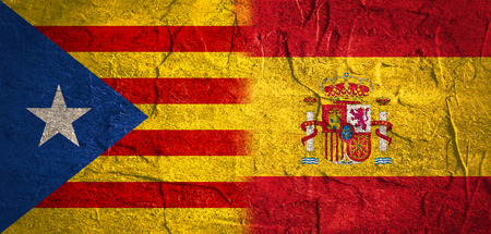 Photo pour Image relative to politic situation between Spain and Catalonia. Catalonia vote for leaving from the Spain state. Democracy political process with referendum. National flags. - image libre de droit